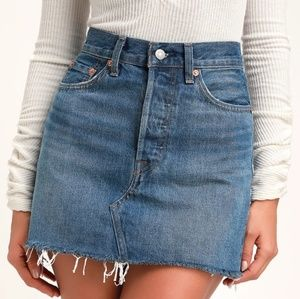 Levi's premium high rise raw hem denim mini skirt
